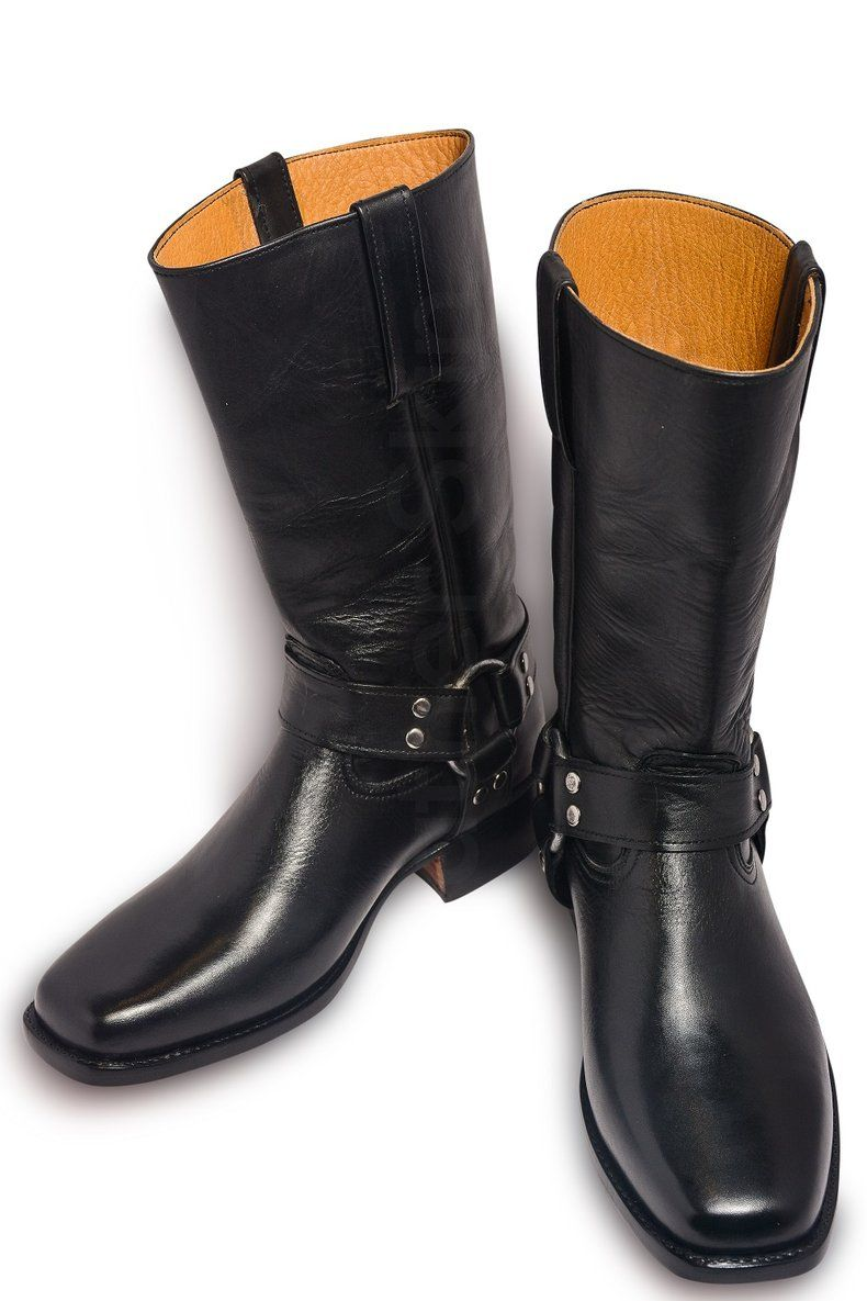 Men Black Leather Motorcycle Boots With Metal Hoops Leather