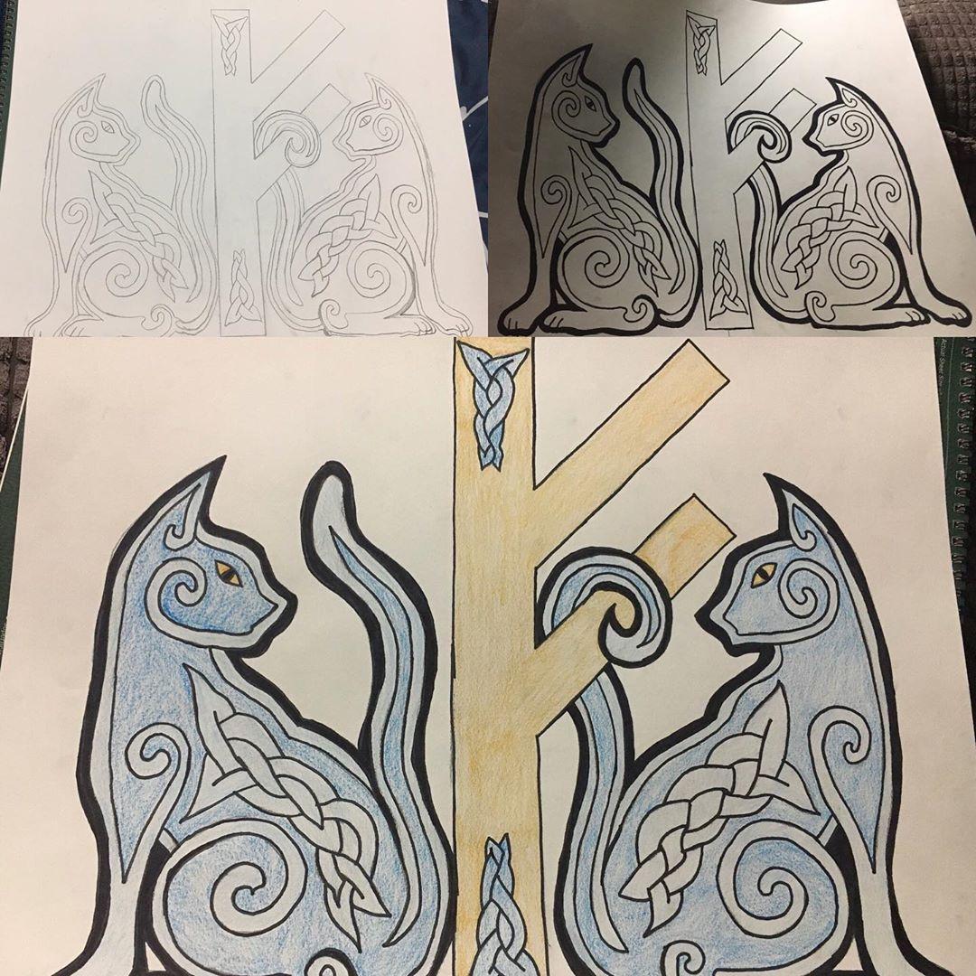 Did some drawing tonight #drawing #artistsoninstagram #art #vikingart #freya #runes #cats #catart #edmonton #canada #pencilart #colourpencilart