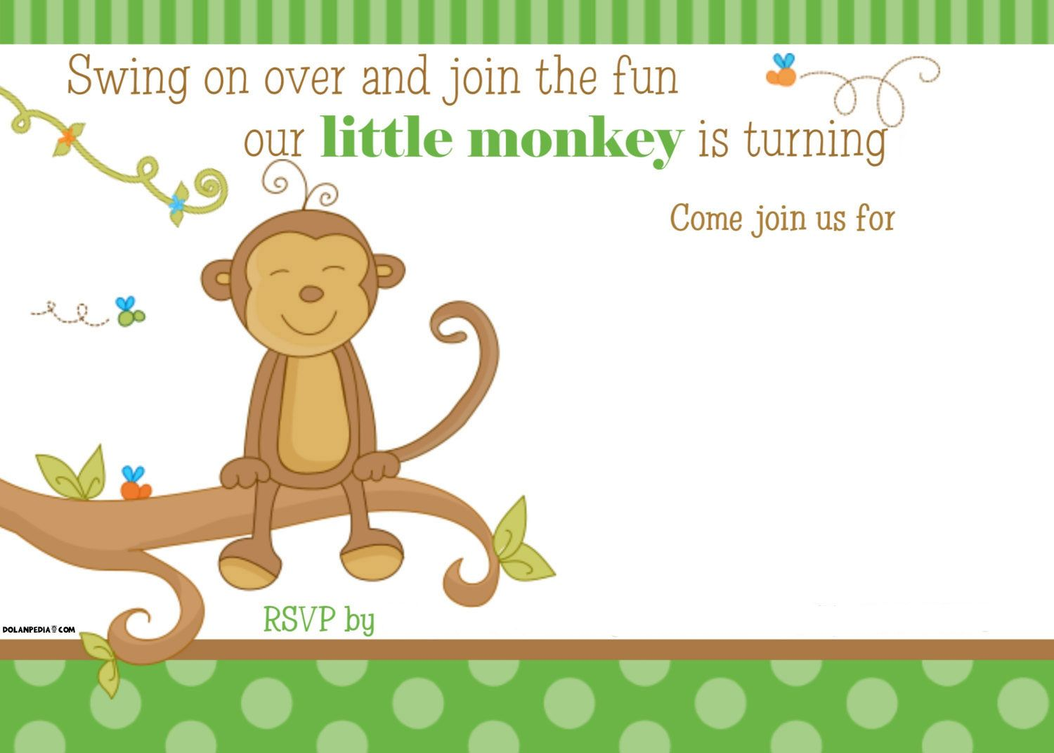 Get FREE Printable Little Monkey Birthday Invitation Template 1 Year Old