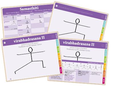 yoga flash cards books  stickfigures  learn asana names