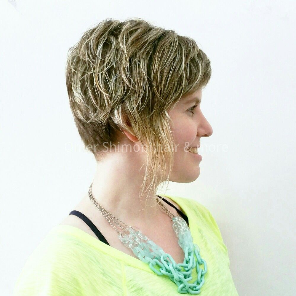 Short Haircut And Blonde Highlights For Straight Hair By Omer