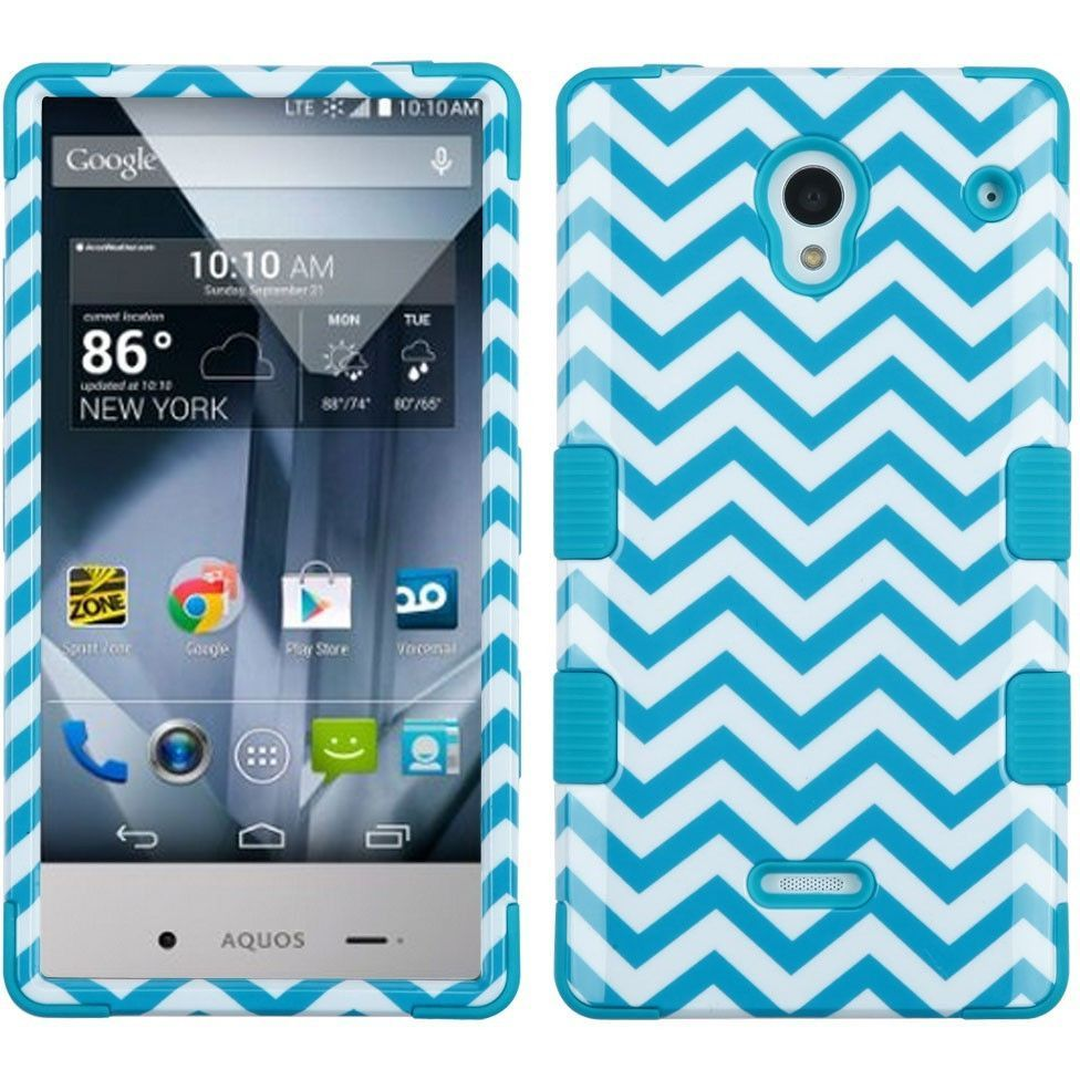 MYBAT TUFF Hybrid Sharp Aquos Crystal Case - Blue Wave/Teal