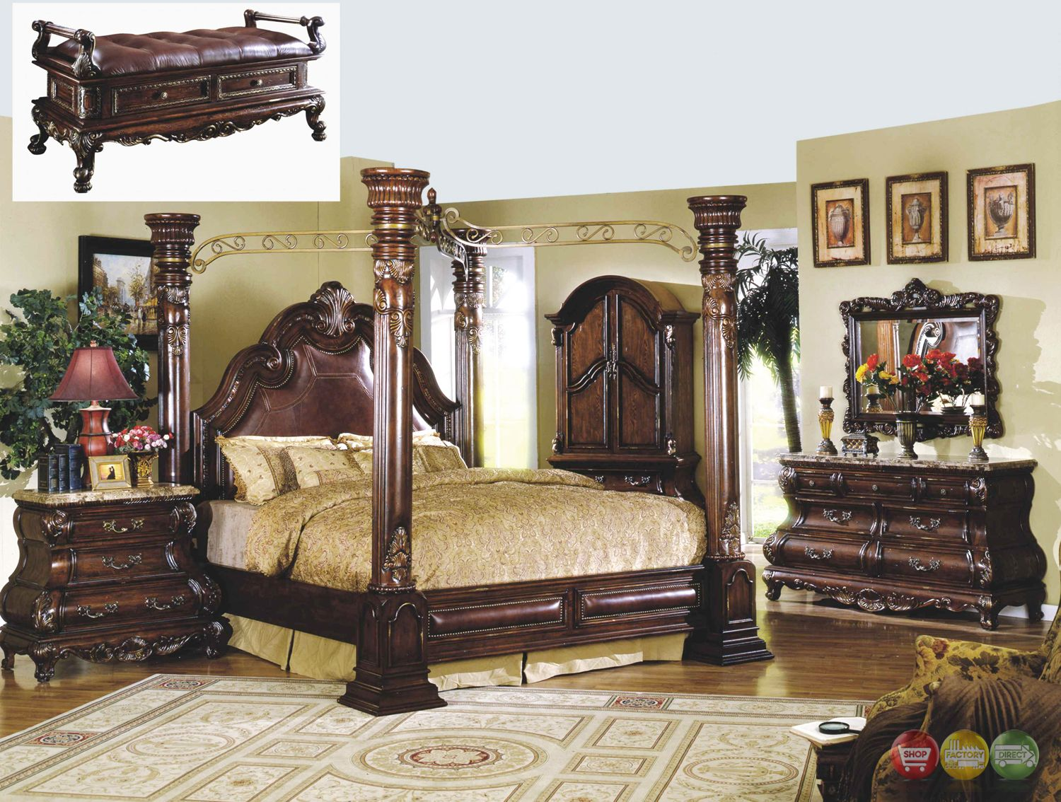 Traditional Cherry Poster Canopy Bed Leather & Marble
