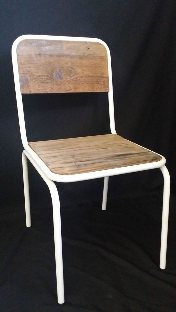 89 NEW FRENCH INDUSTRIAL RETRO VINTAGE METAL WOODEN CHAIR DINING