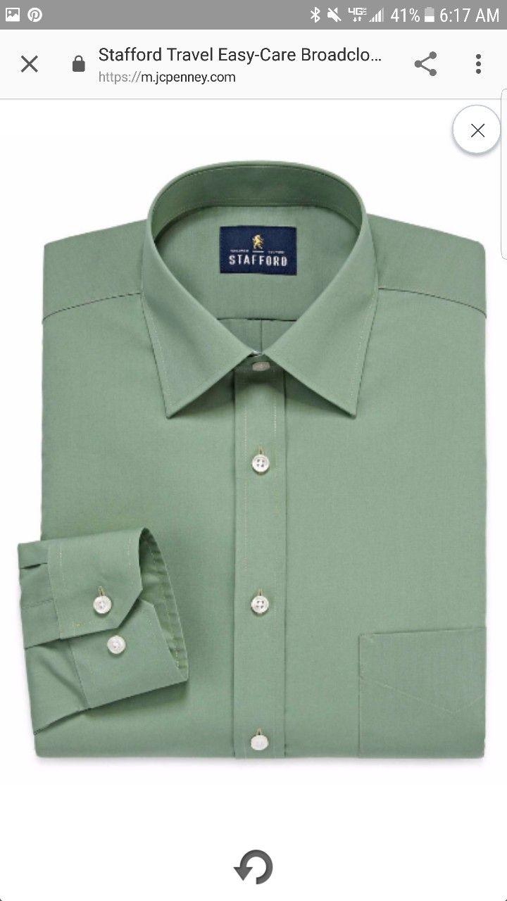 Stafford Broad Cloth Long Sleeve Dress Shirt Green 36 Jcpenny Https M Jcpenney Com P Stafford Travel Easy Care Long Sleeve Shirt Dress Mens Tops Shirt Dress