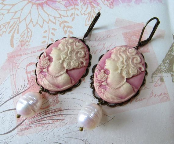 Pink cameo earrings with freshwater white pearl by Sofiasbijoux, £27.00