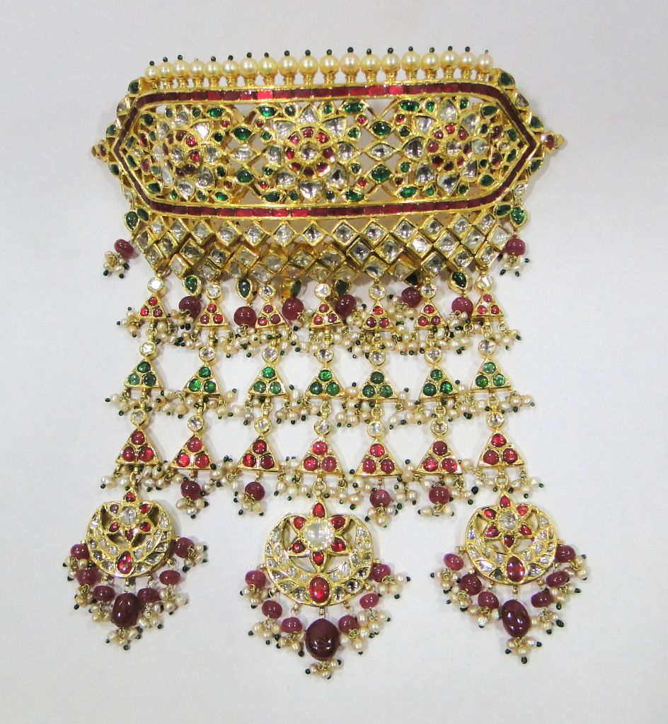 Vintage Antique Solid 20K Gold Gemstone Choker Pendant Necklace ...