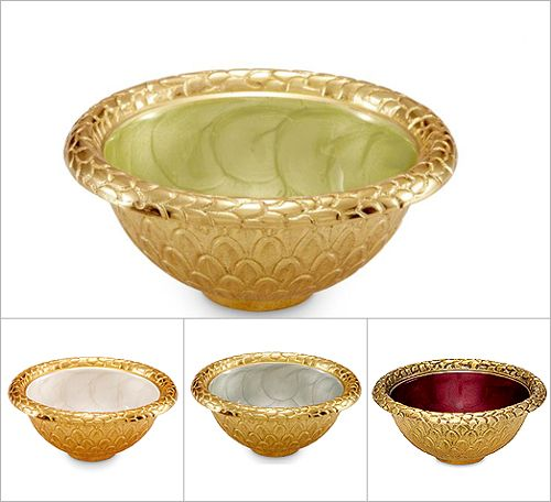 Julia Knight Florentine Small Gold Round Bowl :  This high-wattage Italian inspired gold finish is perfect for setting the table with opulent elegance. Hand made in sand-cast aluminum with our trademark blend of enamel infused with crushed mother of pearl. The perfect dish for small bites, sauces and herbs. Food safe. 4.25