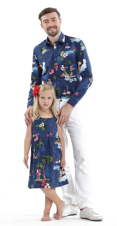 cc706255639df5 Father & Daughter Matching Men Long Sleeve Aloha Shirt and Girl Dresses in Santa  Navy