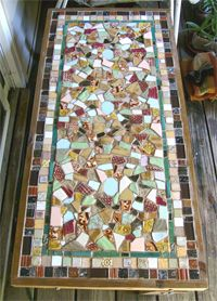Charming Mosaic Table Top With Textured Clay Tiles   Would Love To Do This One Day!