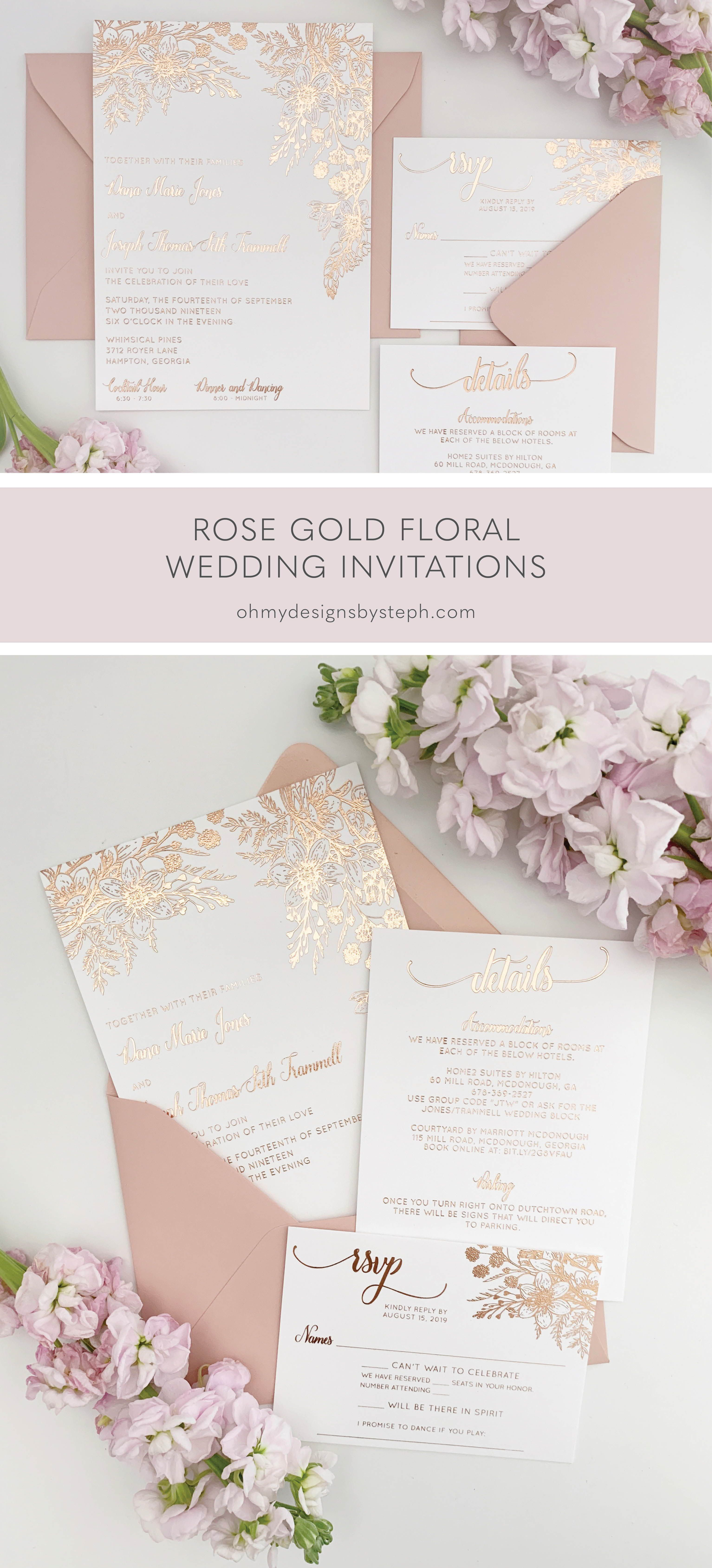 Rose Gold Wedding Invitations With Foil Florals Oh My Designs By Steph In 2021 Rose Gold Wedding Invitations Gold Wedding Invitations Wedding Invitation Trends