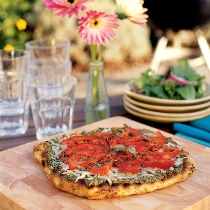 Grilled Pesto Pizza Recipe   Spoonful-(add grilled chicken)