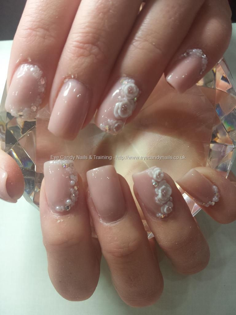 Wedding Nails Brillbird Nude Acrylic With Swarovski Crystals Pearls And Caviar Beads 3d Flowers