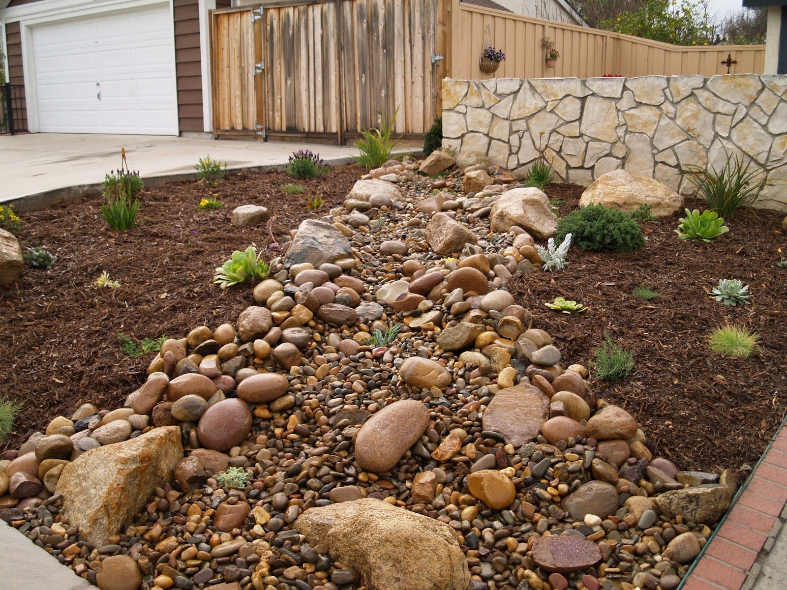 Good Stone Mulch In Front Yard Landscape Designs For Your Home