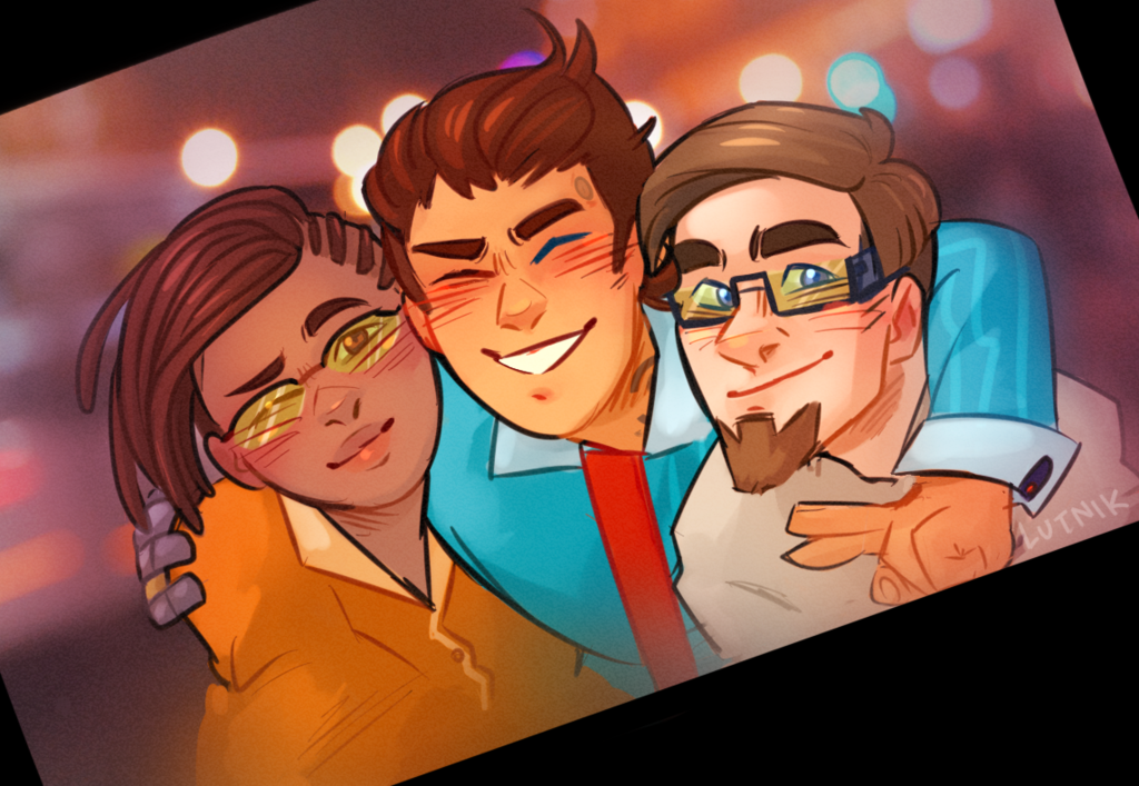 Yvette, Rhys, and Vaughn all together from Tales from the Borderlands