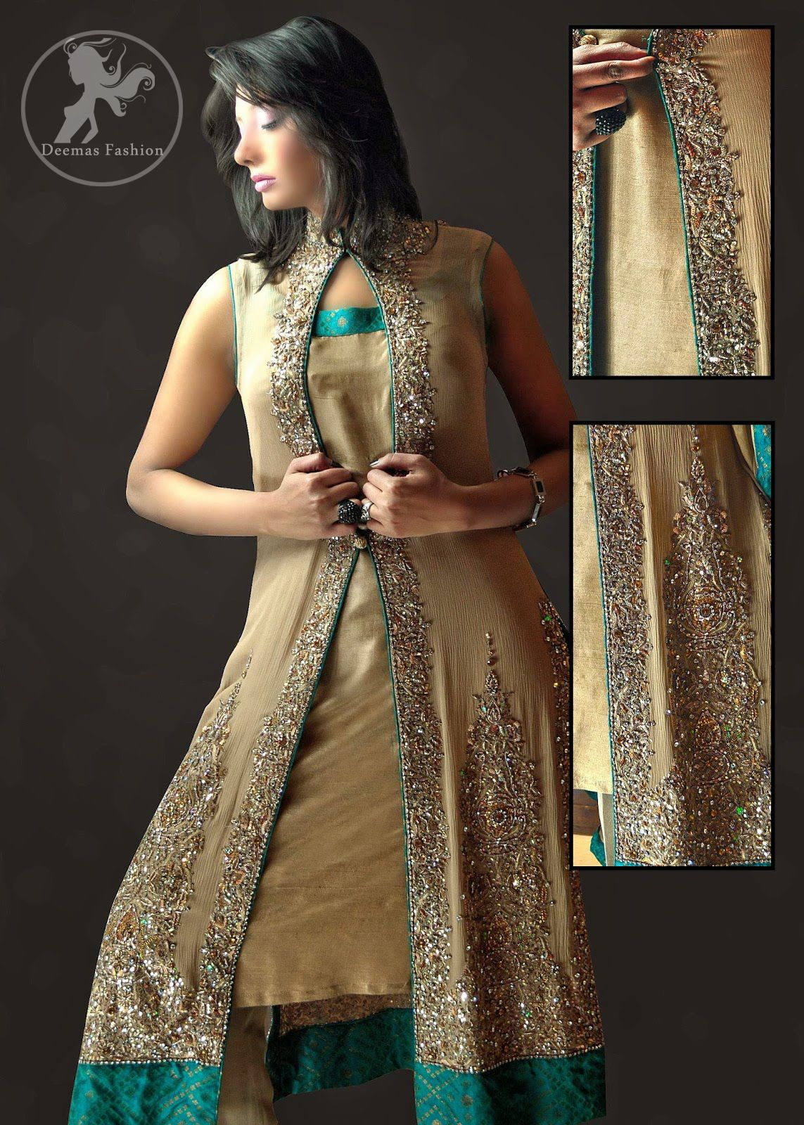 8dc73e2a2 Fawn Front Open Embroidered Gown & Trouser | Shaadi-Wear | Dresses ...