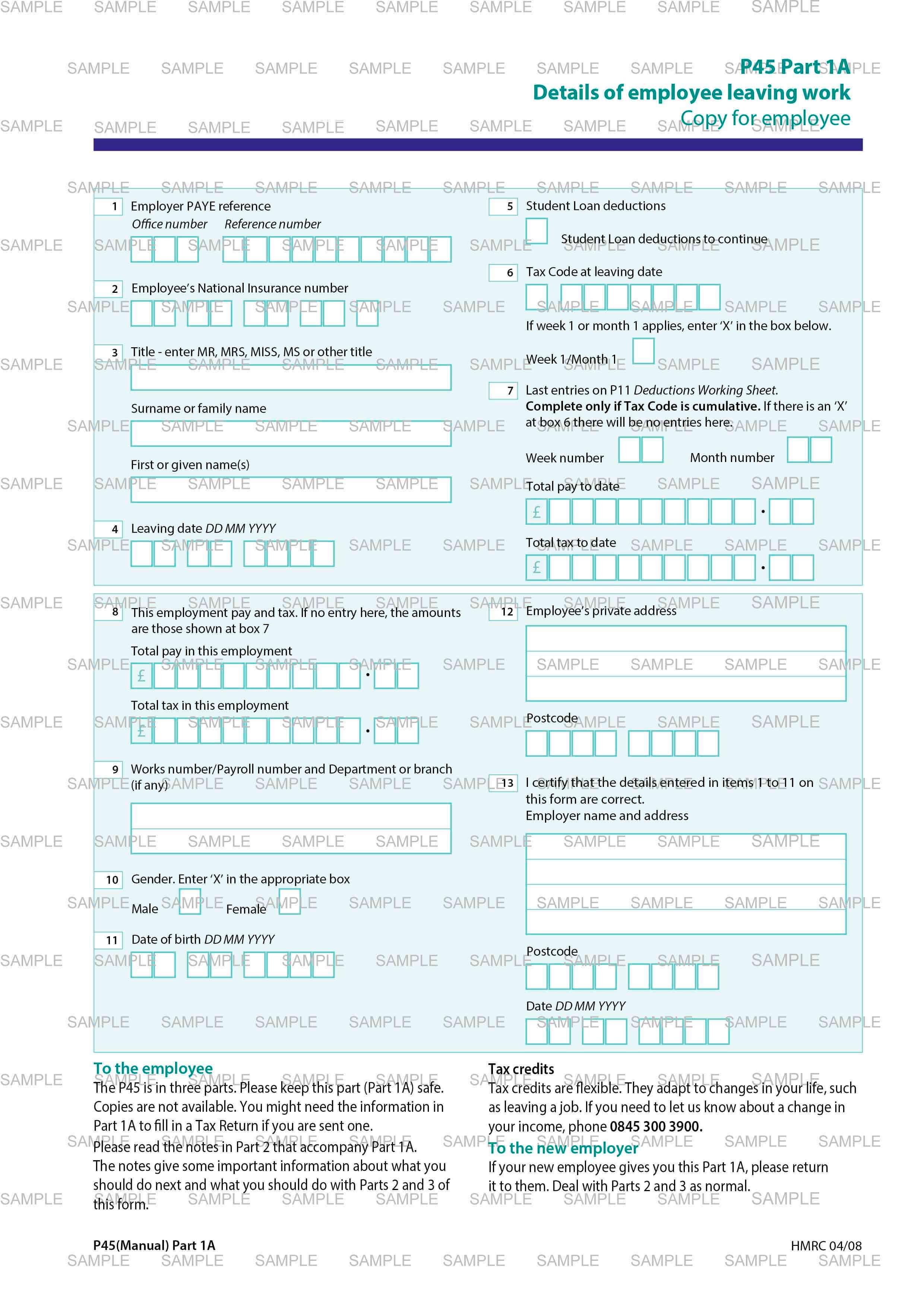 Hmrc p45 part 1a bill template utility bill business