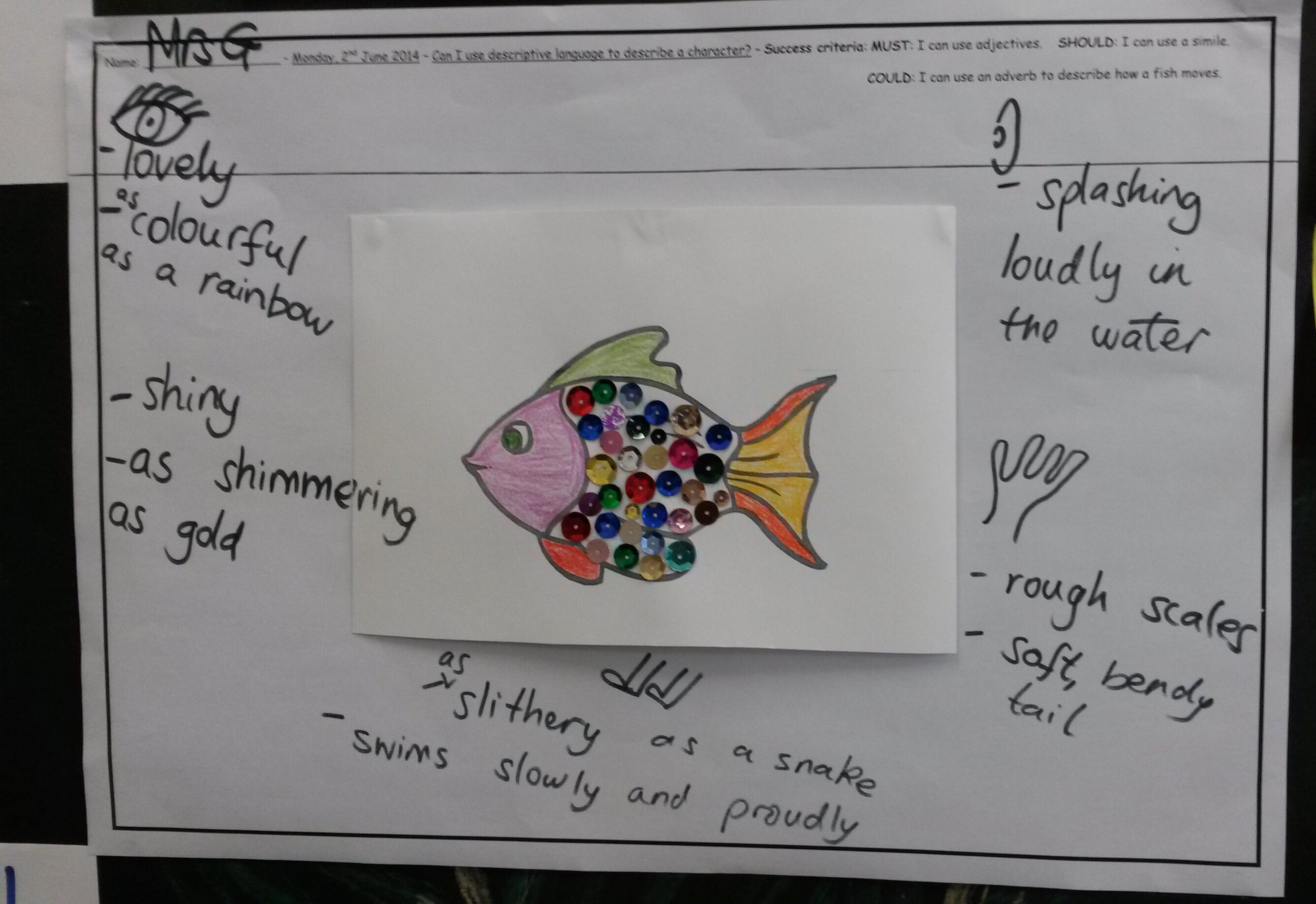 Working Wall In Use Model Of Word Bank For Rainbow Fish