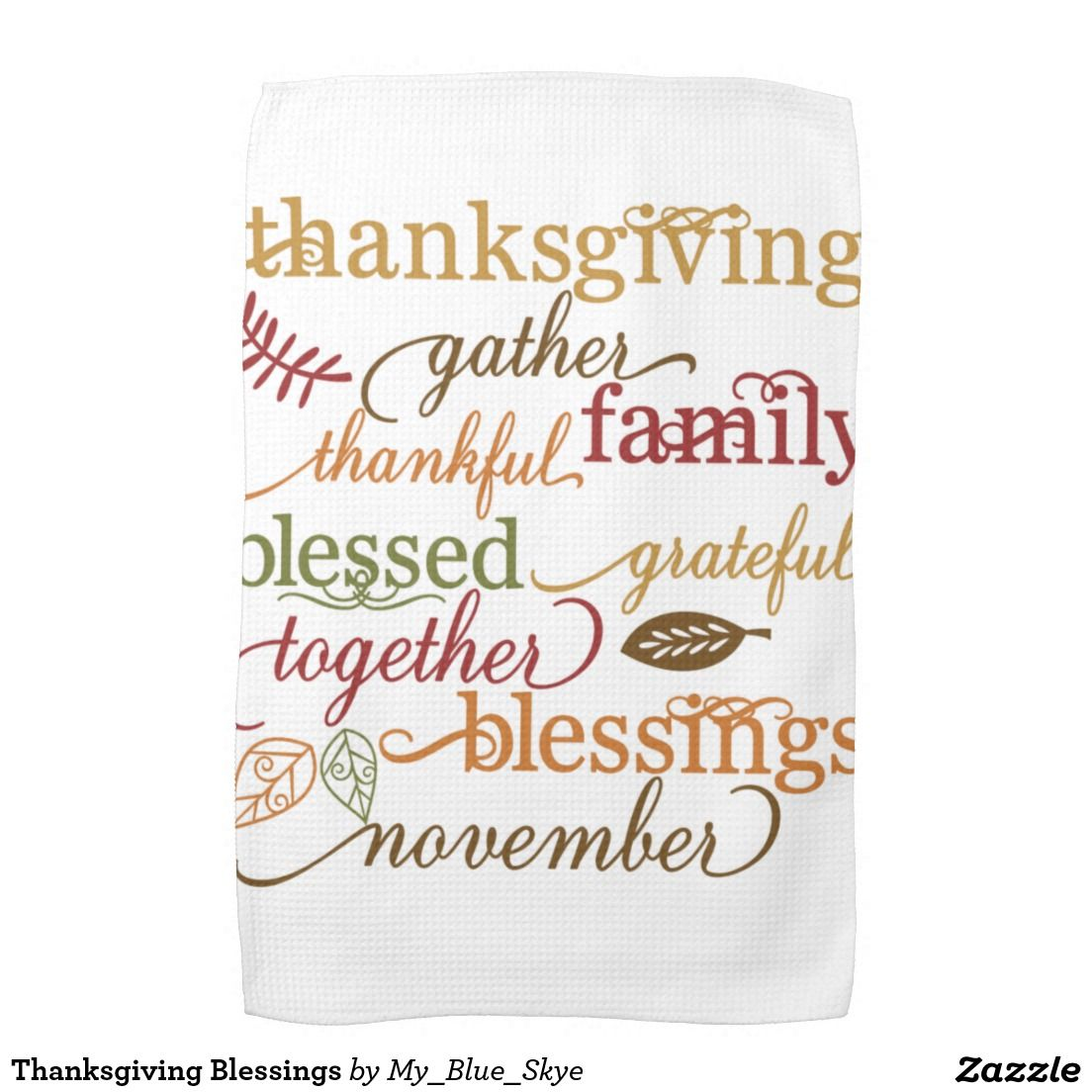 Thanksgiving Blessings Hand Towel Cricut