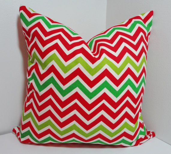 Red Green Ivory Chevron Zig Zag Pillow Decorative by HomeLiving