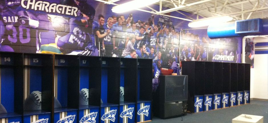 Thomas Mores Football Locker Room Enhancements Custom Designed And Digitally Printed Wall Murals