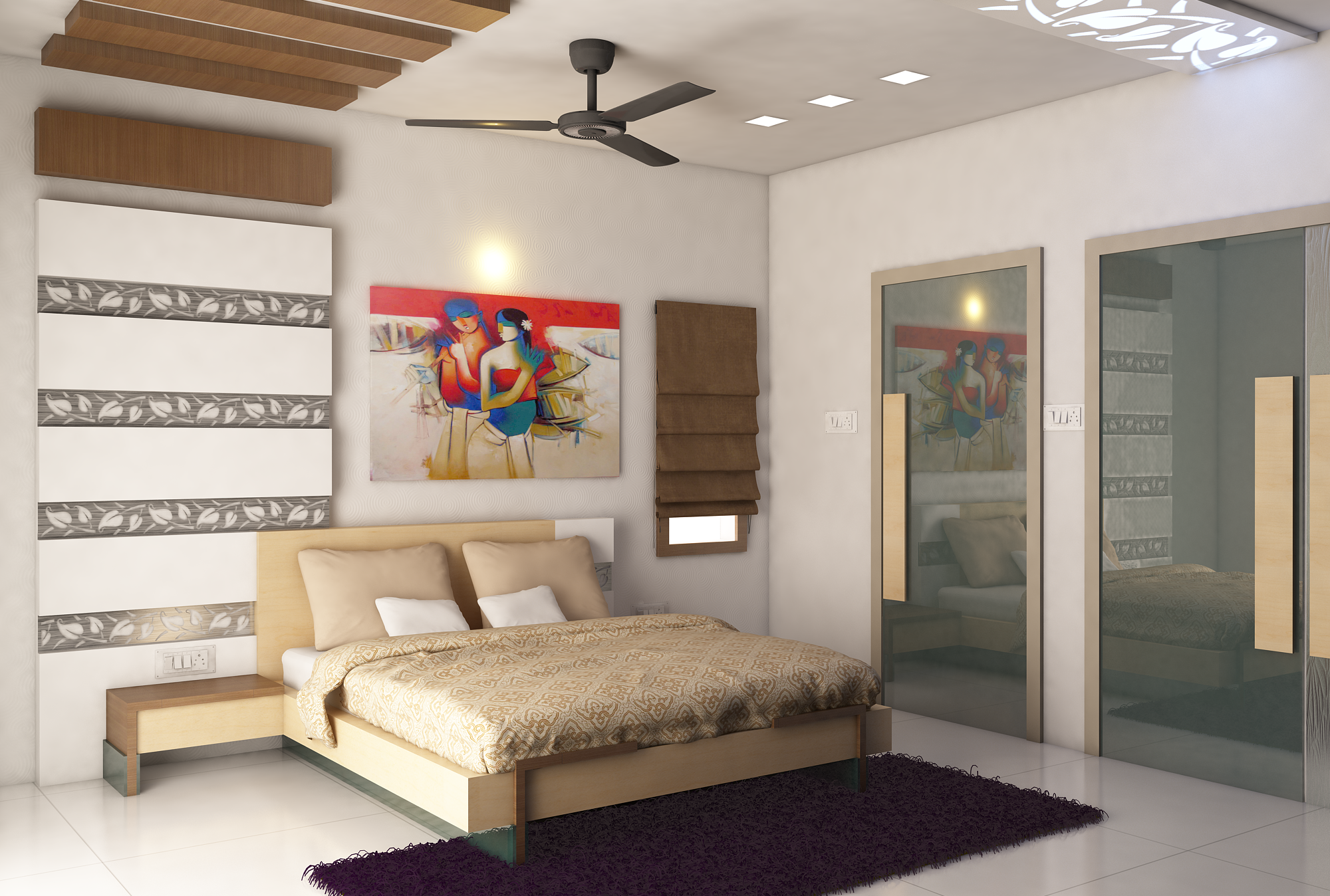 Master Bedroom With Painting Design By Kamlesh Maniya Interior
