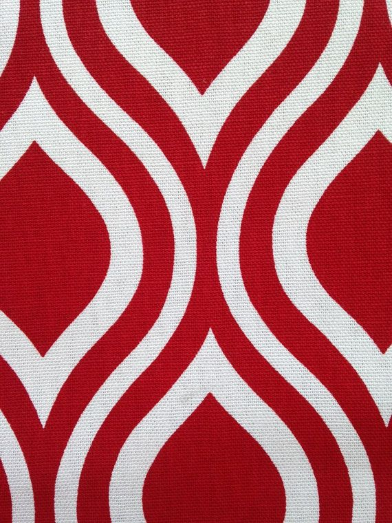 Red Geometric Upholstery Fabric Bright And By Popdecorfabrics