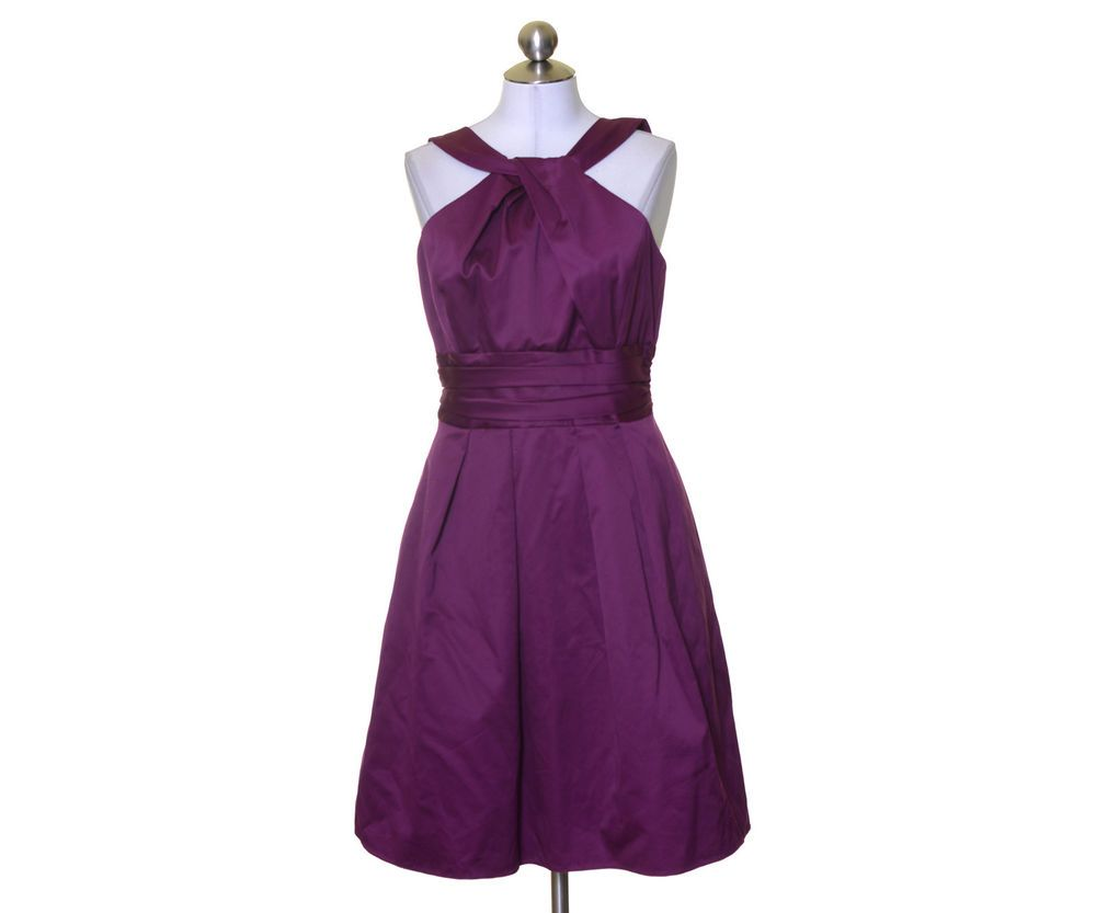 David\'s Bridal Plum Purple Lined Y-Neck Cotton Bridesmaid Dress ...