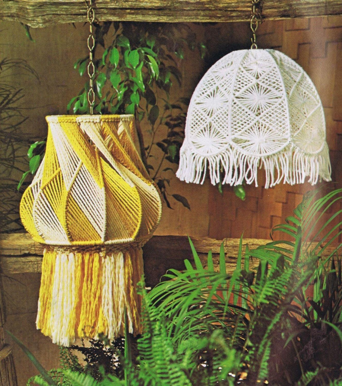 Vintage Macrame Patterns Hanging Lamps Mesh Lamp Shade ...