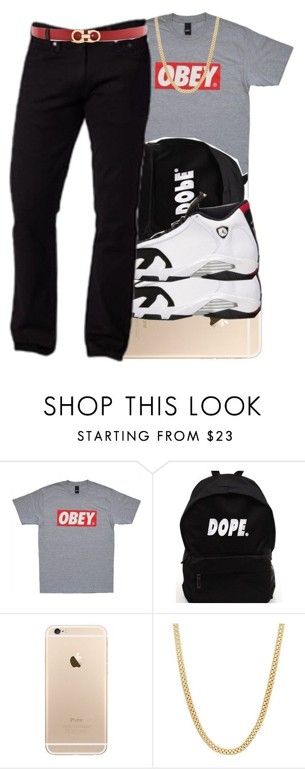 """Boys Outfit 1"" by swagger-on-point-747 ❤ liked on Polyvore featuring OBEY Clothing and Salvatore Ferragamo"