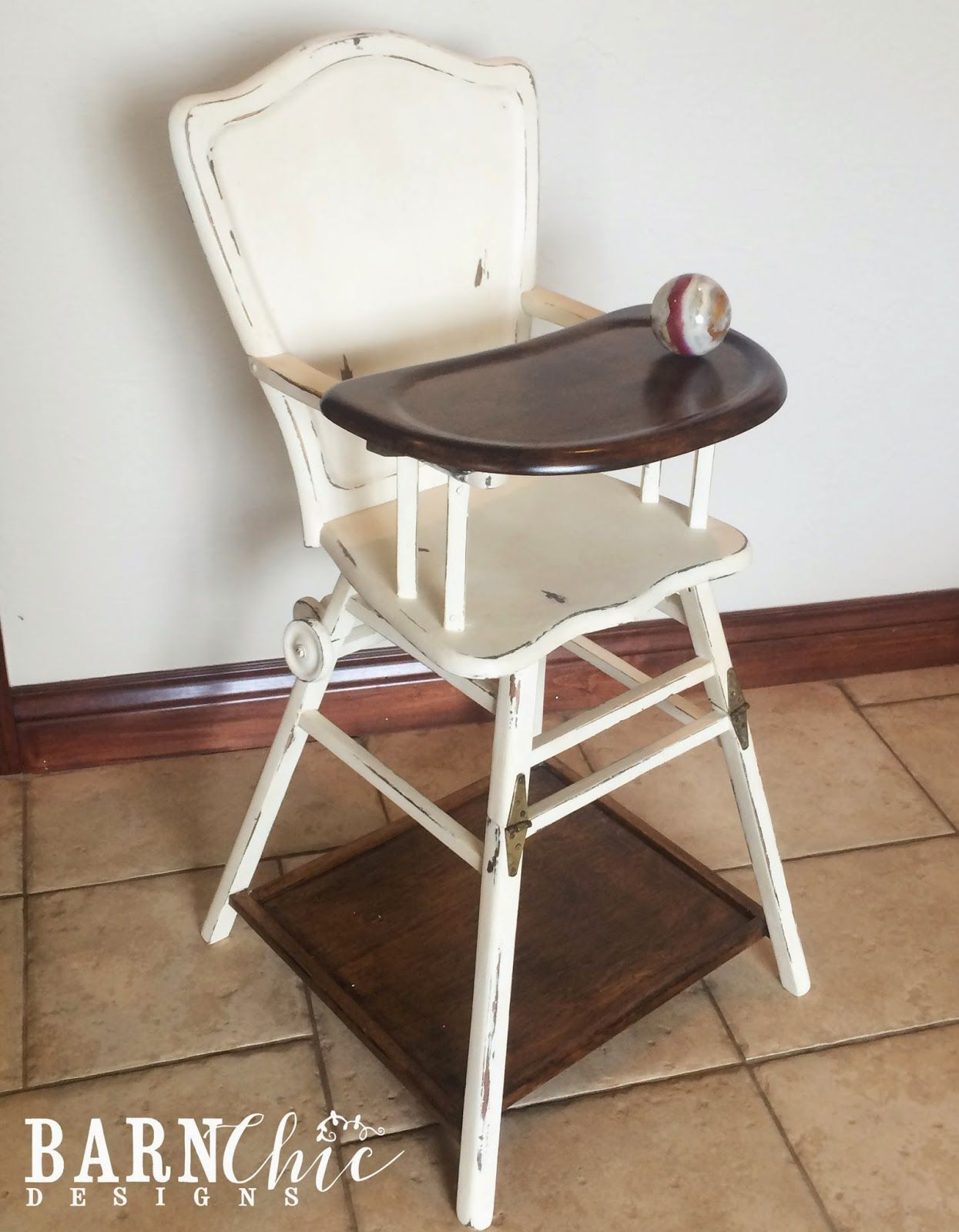 Refinished antique old wooden high chair by Barn Chic Designs. Two toned  refurbished high chair in Dark walnut stain and Annie Sloan Chalk Paint. - Refinished Antique Old Wooden High Chair By Barn Chic Designs. Two