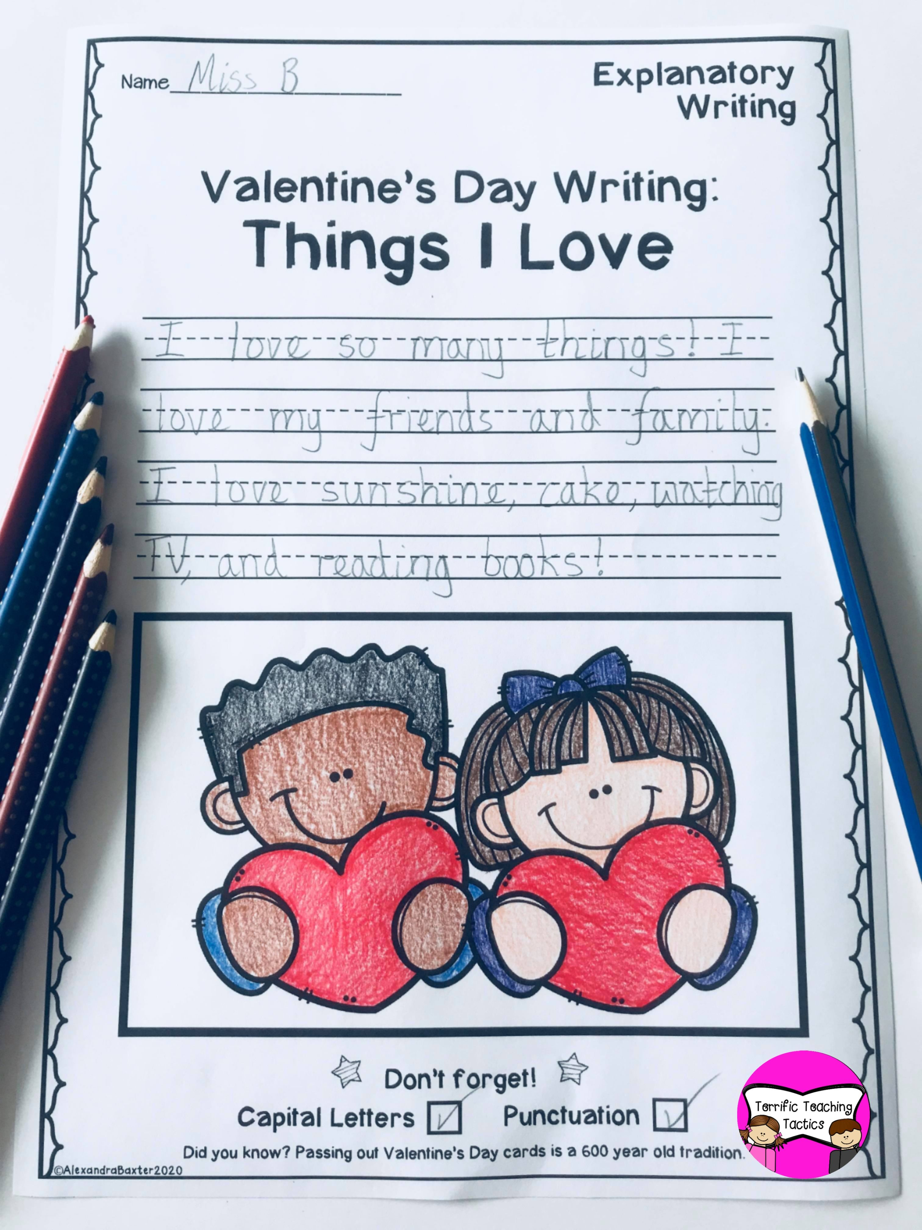 February Writing Prompts Worksheets