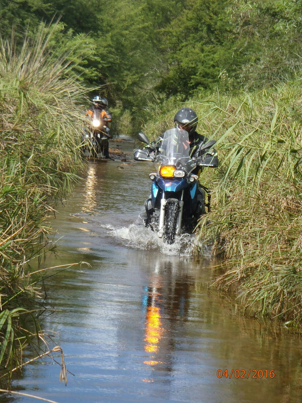 Water crossings can be challenging. Especially with a pillion