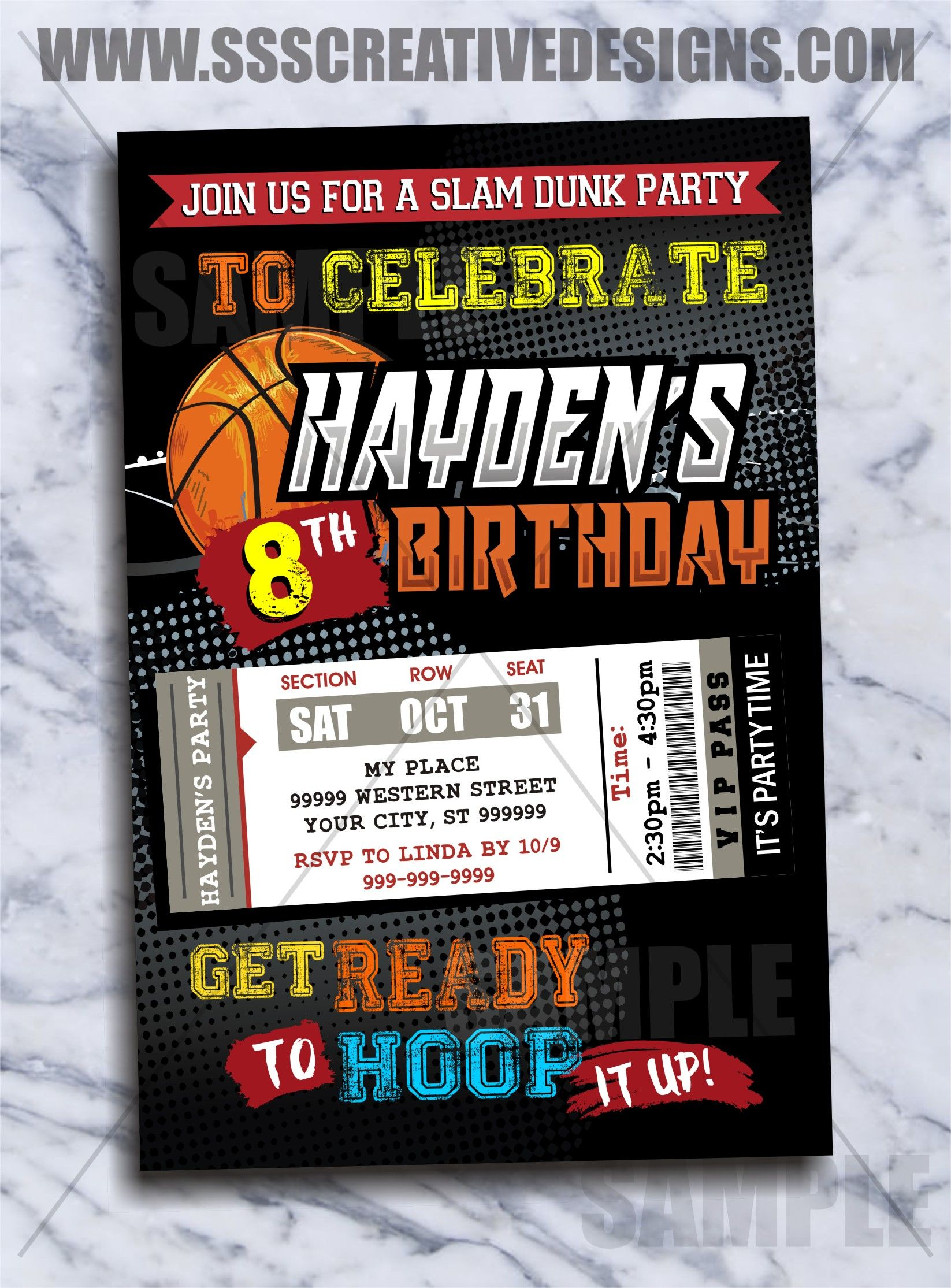 Basketball Birthday Invitation Basketball Invitation