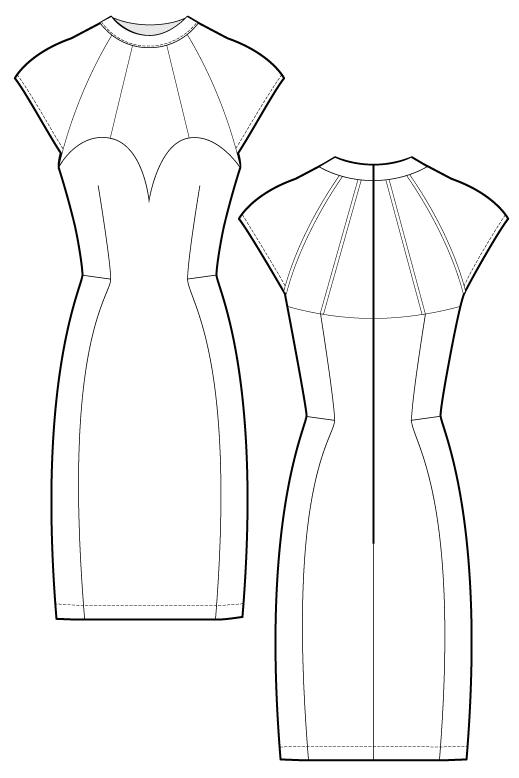 Siara Dress Body Con Dress Flat Drawing By Ralph Pink