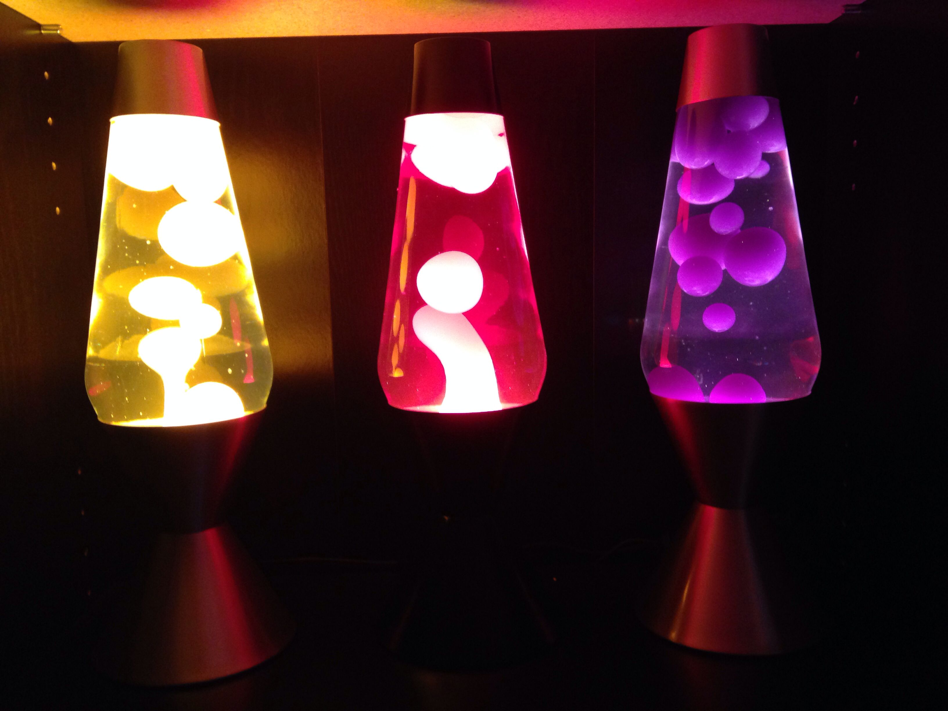 Lava lamp large - Three Sixteen Inch Lava Lamps From Left To Right Clear Liquid Yellow Wax