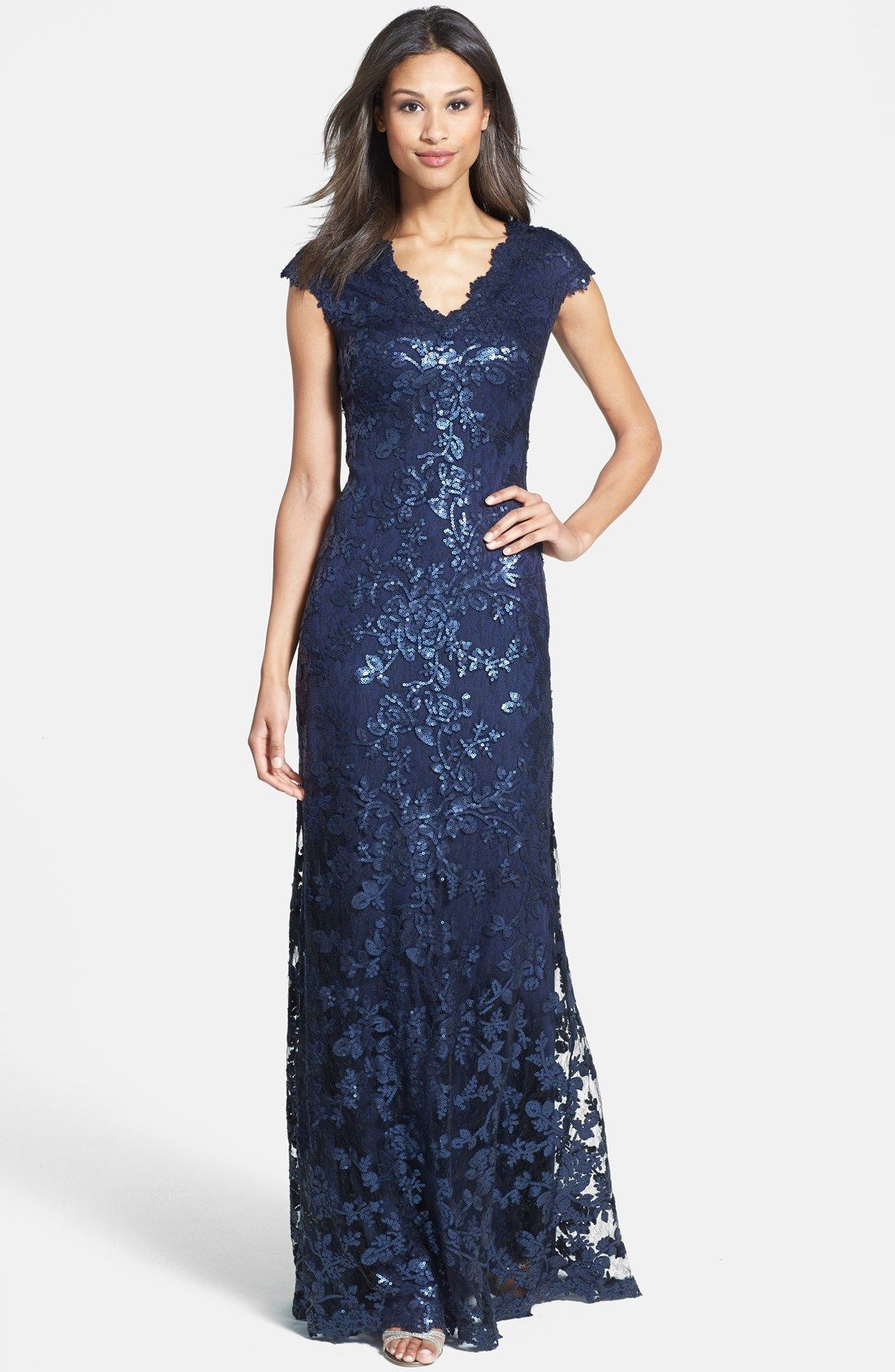 Tadashi Shoji Sequin Lace Gown | Nordstrom | Midnight Blue ...