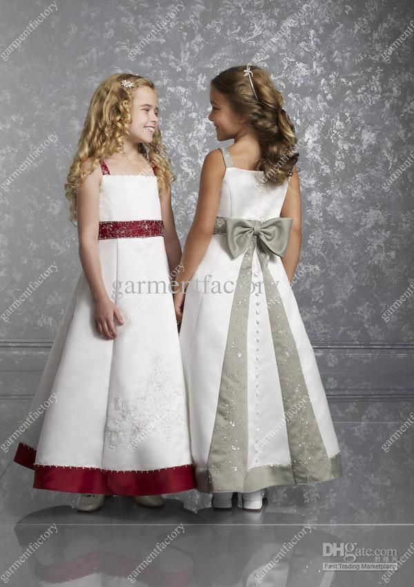 Hot Kids Wedding Dress A Line Ankle Length Red And White Embroidery Bow Flower Girl Dresses