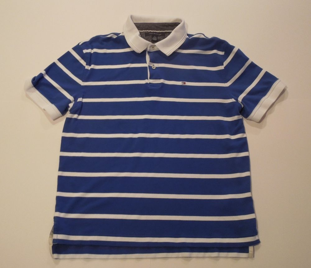 24c664726c Tommy Hilfiger Mens XL Blue And White Striped Polo Short Sleeve Shirt # TommyHilfiger #PoloRugby