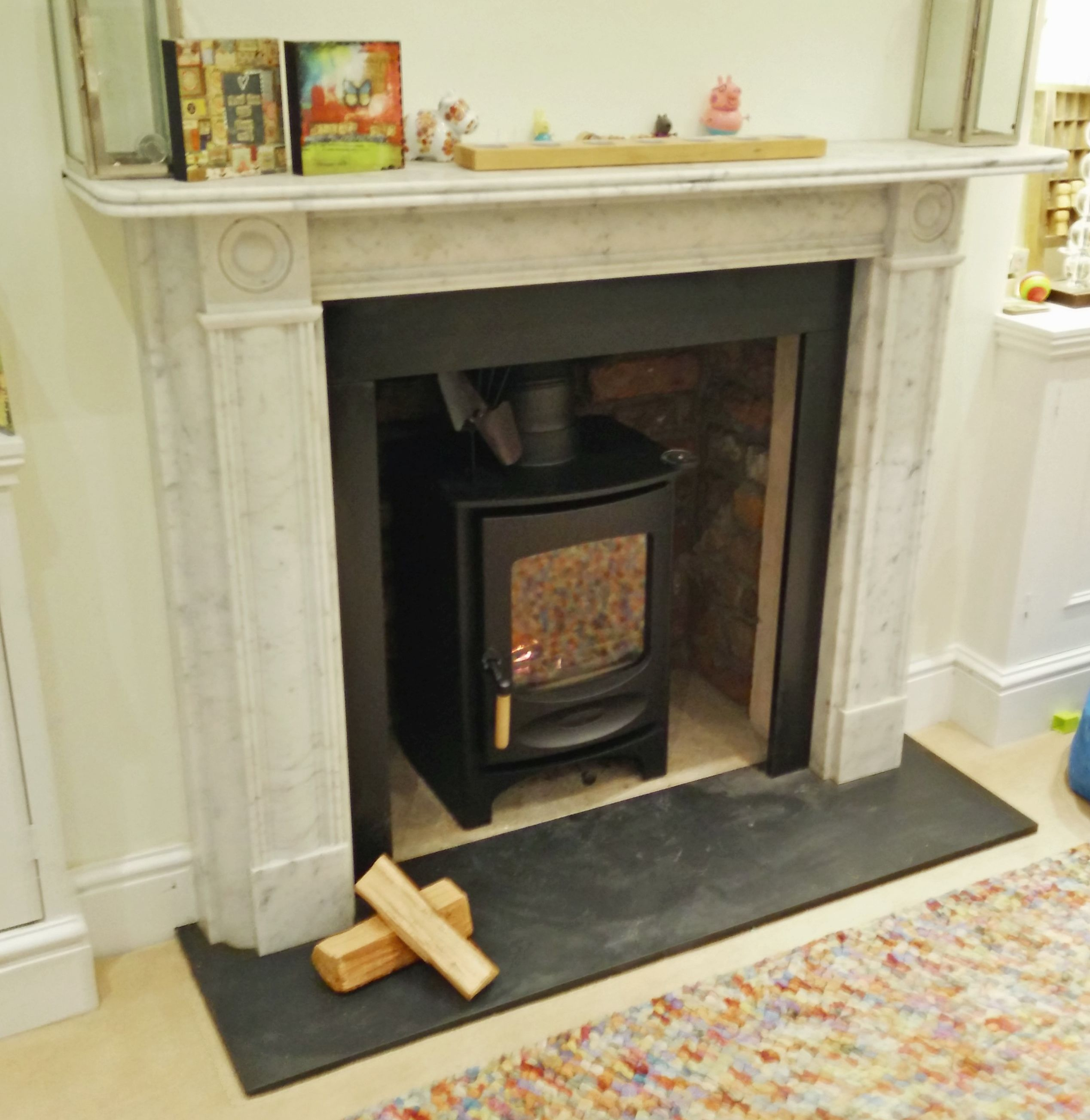 Charnwood C6 fitted into repointed fireplace with beautiful marble ...