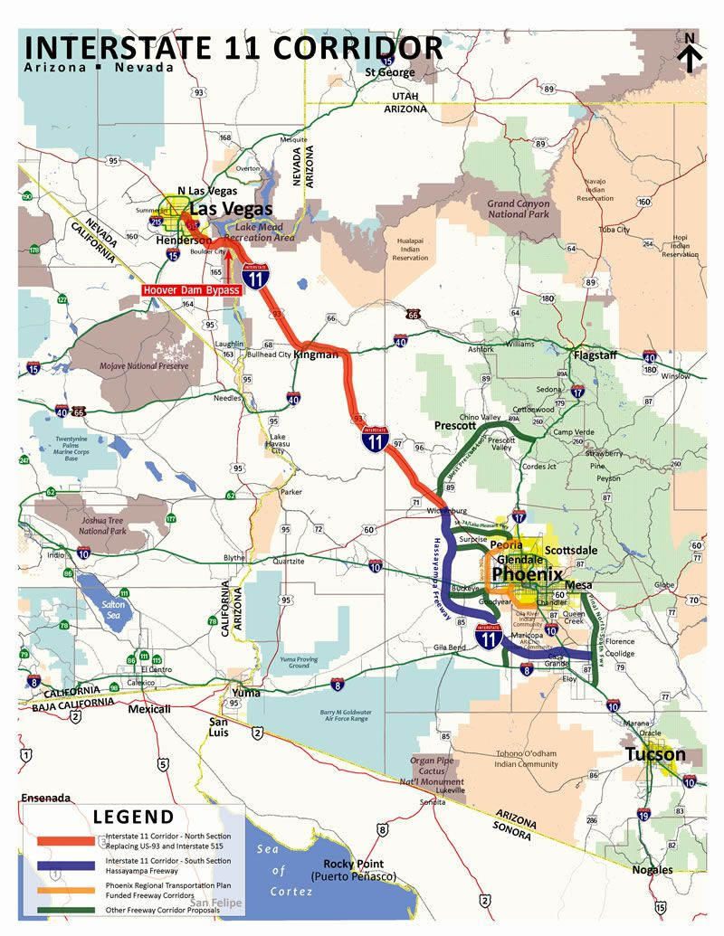 Map Of Arizona And Vegas.Map Of Proposed Interstate 11 Which Would Connect Phoenix And Las