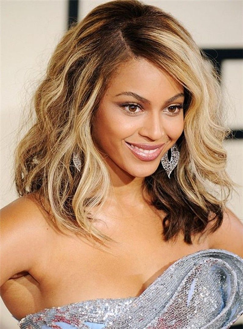 9f8197f91f1 Beyonce Wavy Lob Hairstyle Medium Full Lace Human Hair Wig 14 Inches ...