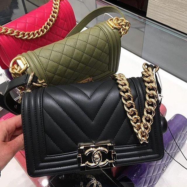 Boy Chanel Chevron And Diamond Quilted Bag