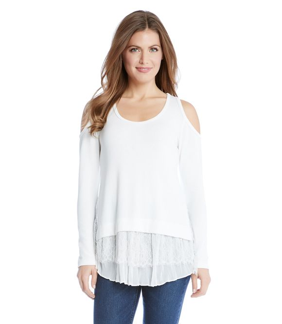 008a33b2bfd1a Karen Kane Cold Shoulder Lace Inset Sweater