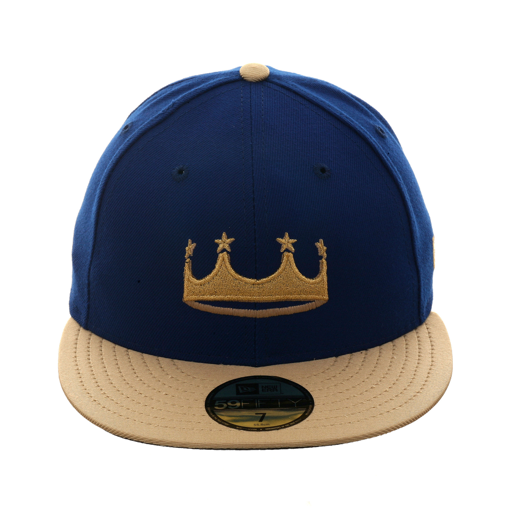 quality design 044c1 fb501 New Era 59Fifty Fitted Hat - Kansas City Royals 2018 Turn Ahead The Clock -  Royal Crown - Metallic Gold Visor - Black Undervisor - Logo Embroidered in  ...