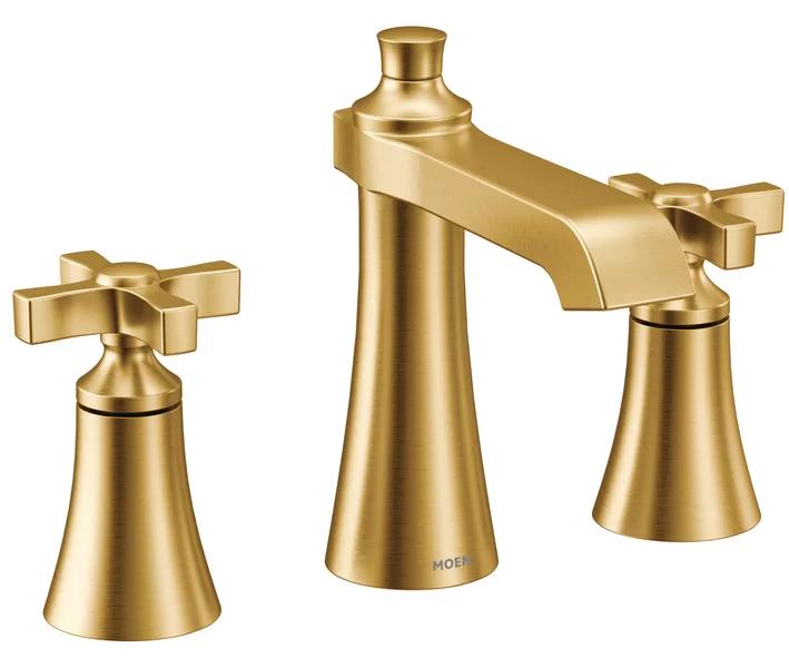 Moen Flara Cross Handle Trim Widespread Bathroom Faucet With Drain Assembly Wayfair High Arc Bathroom Faucet Bathroom Faucets Widespread Bathroom Faucet