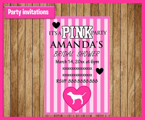 0eba5e3ed2 Victorias Secret Pink Invitation Printable by myboutiquepartyfl ...