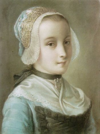 A portrait of a young maid wearing a lace bonnet, a blue dress with a bib and a silver pendant on a ribbon by Pietro Antonio Rotari, 1700's