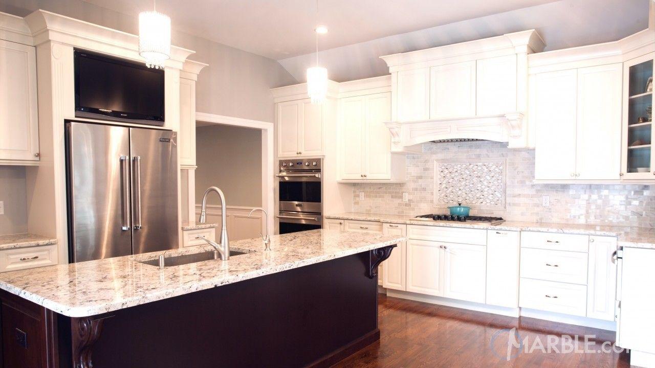 Snow White Granite Kitchen Countertop with marble backsplash ...