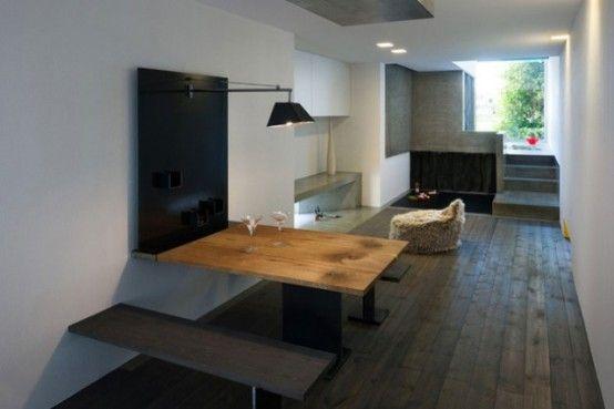 taitettavat pöytä ja penkit  http://www.digsdigs.com/narrow-urban-home-with-industrial-minimalist-interiors/ Narrow Urban Home With Industrial Minimalist Interiors | DigsDigs